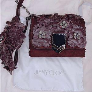 Jimmy Choo Women Burgundy Suede Shoulder Bag purse